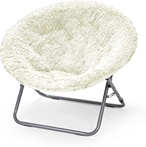Urban Shop Oversized Mongolian Saucer Chair, White