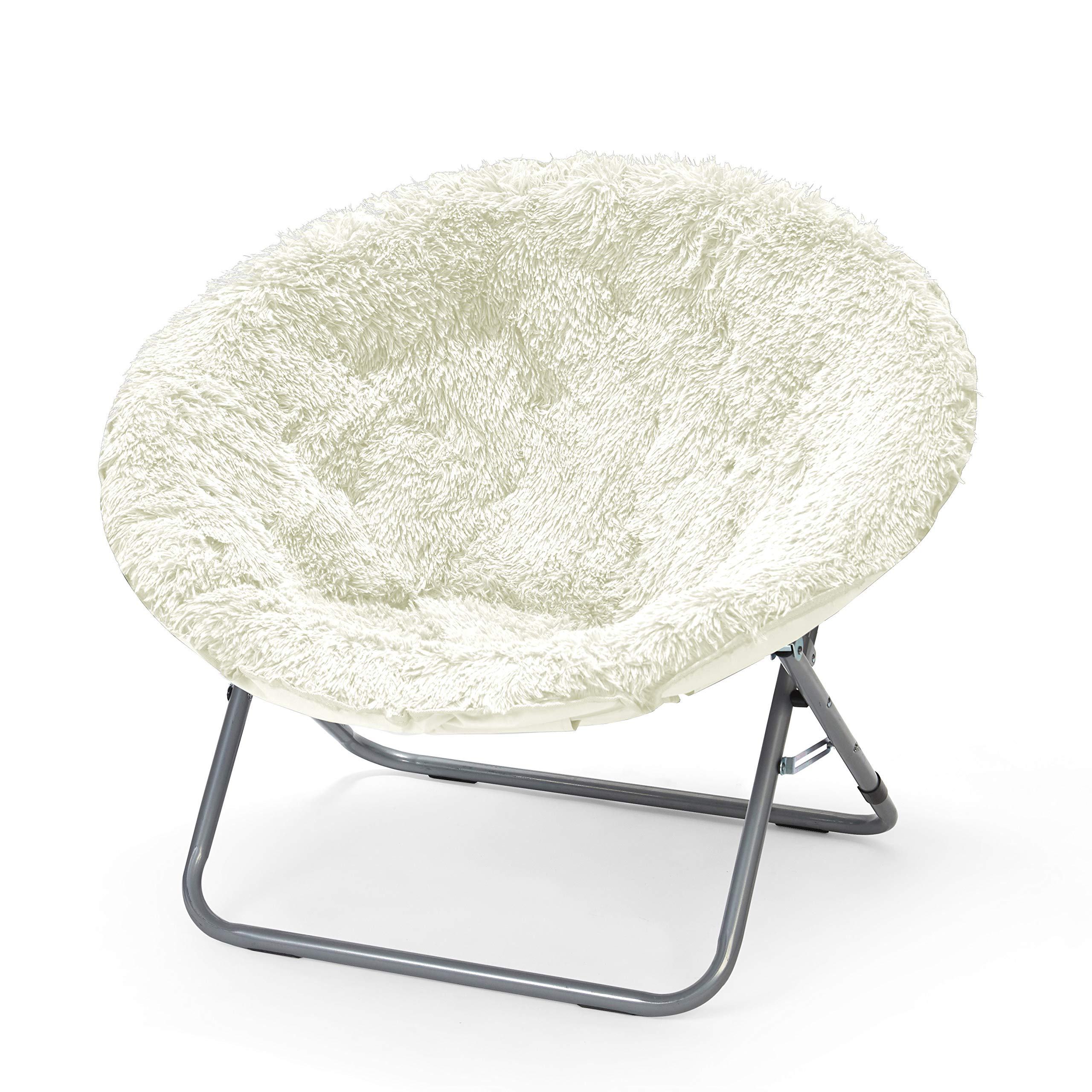 Urban Shop Oversized Mongolian Saucer Chair, White by Urban Shop