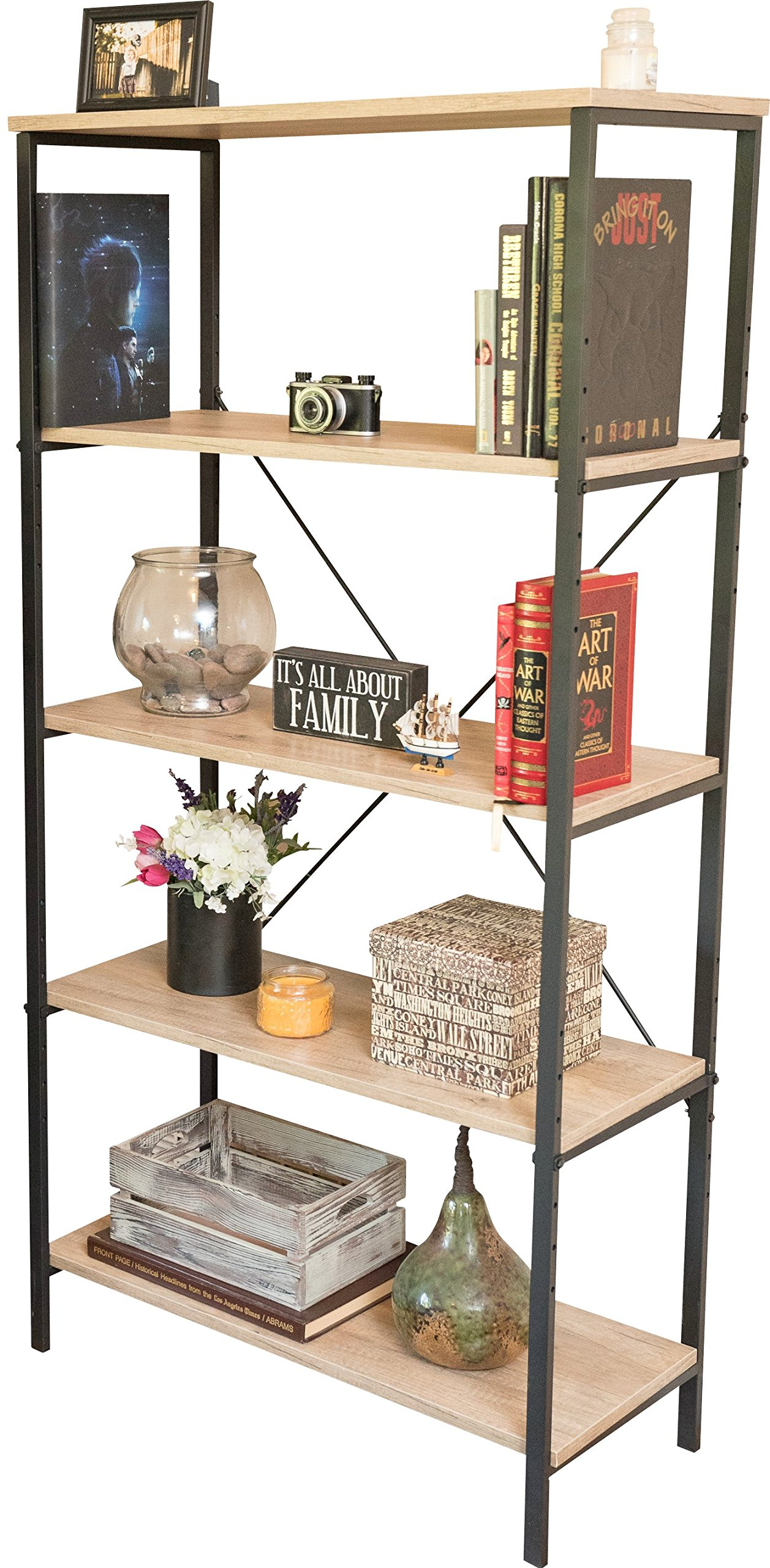 Sleekform Bookshelf | Vintage Industrial Rustic Style Open 5 Shelf Bookcase | Solid Wood Shelving Unit for Home or Office