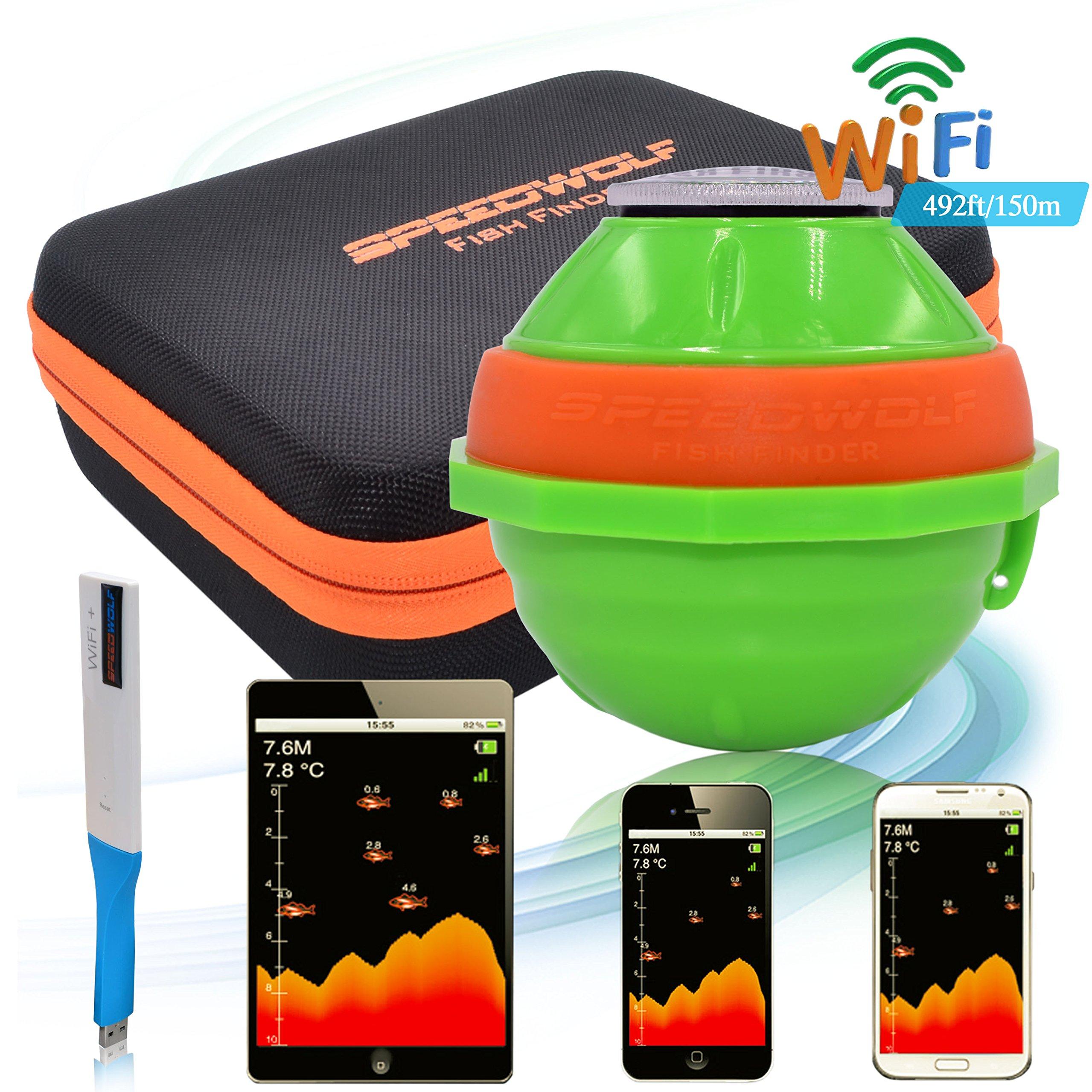 SPEEDWOLF 492ft Long Distance Portable Wireless Sonar WIFI Sounder Fish Finder Chartplotter Graph
