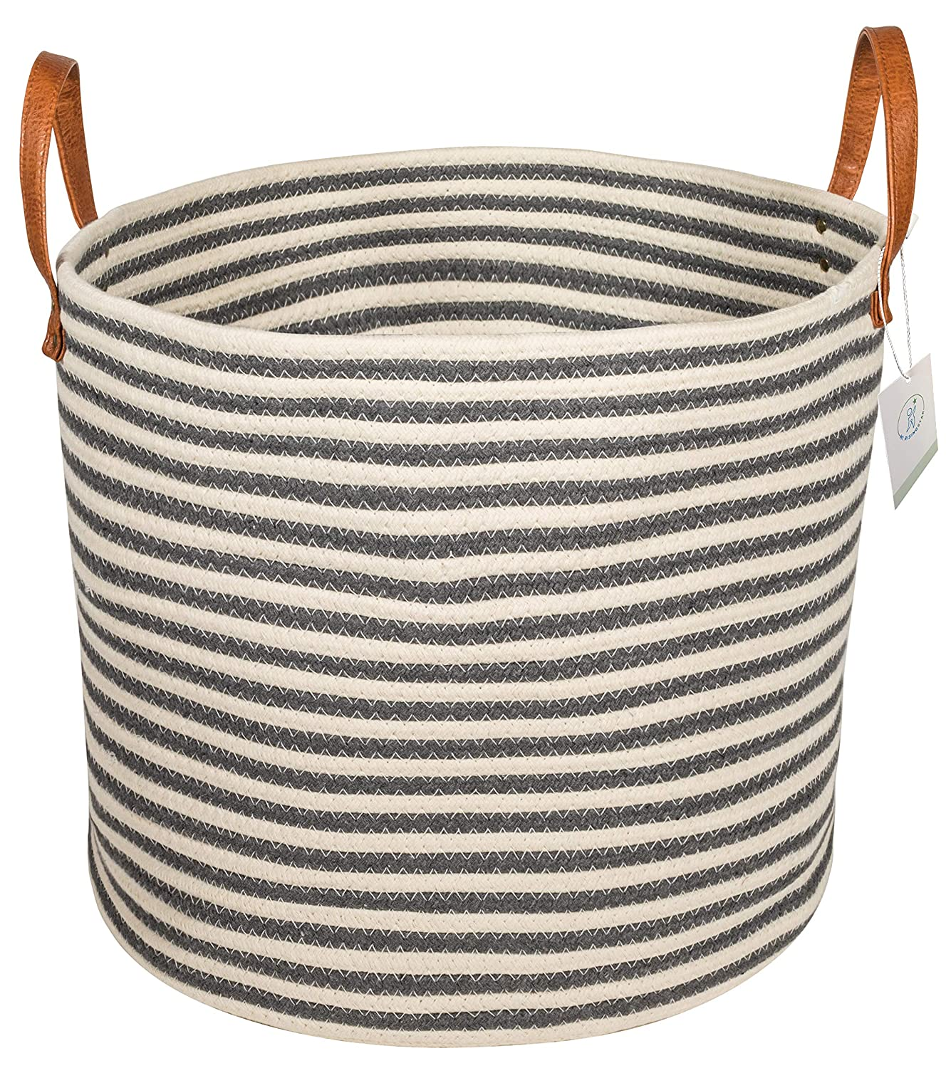 Large leather handled cotton rope stripe storage basket - imagine all the rooms this sweet hard worker will enhance!