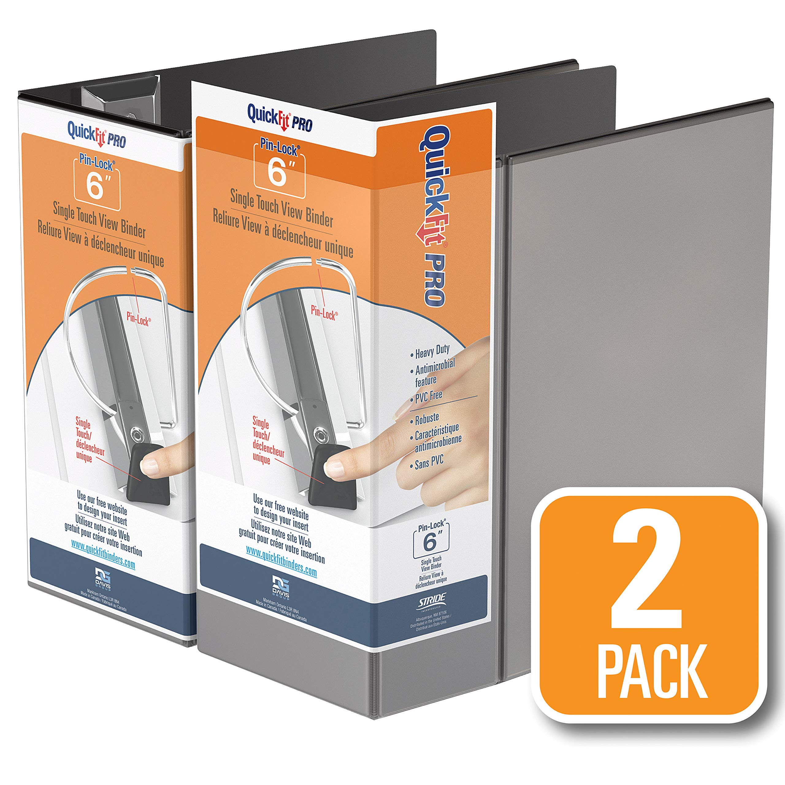 QuickFit Pro Heavy Duty Single Touch View Binder, 6 Inch, Locking D Ring, Black, 2 Pack (90081-02) by QUICKFIT