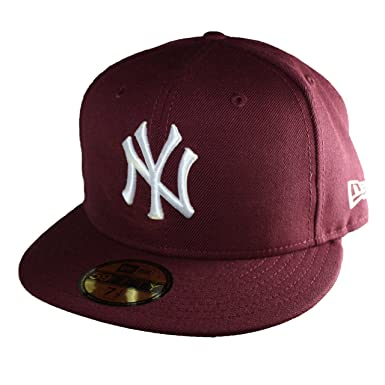 3c01b48d5e47 New Era Newyork Yankees 59Fifty Men s Fitted Hat Cap in Burgundy and White