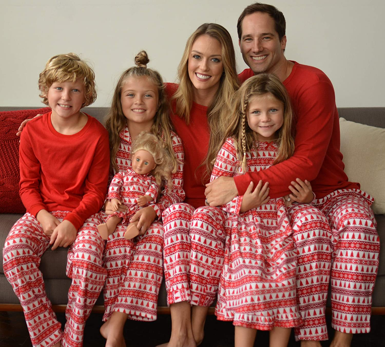 SleepytimePjs Holiday Family Matching Red Trees Flannel PJs Sets for The  Family ea68a2670