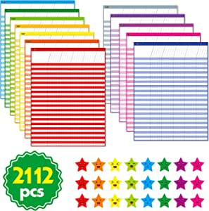 "12 Pack Multi-Color Laminated Dry Rease Incentive Chart/Chore/Responsibility/School Attendance/Homework Progress Tracking Chart with 2112 Reward Star Stickers, (17"" x 22"")"