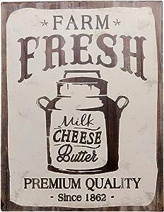 "Barnyard Designs Farm Fresh Milk Cheese Butter Retro Vintage Tin Bar Sign Country Home Decor 10"" x 13"""