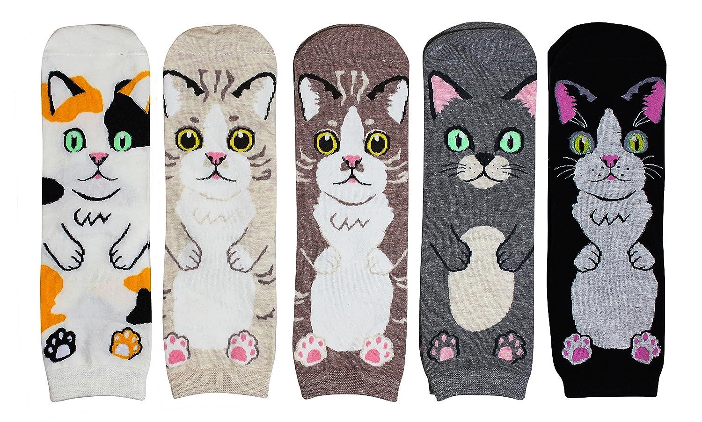 Cansok Women Animal Novelty Dress Crew Socks Pack of 5