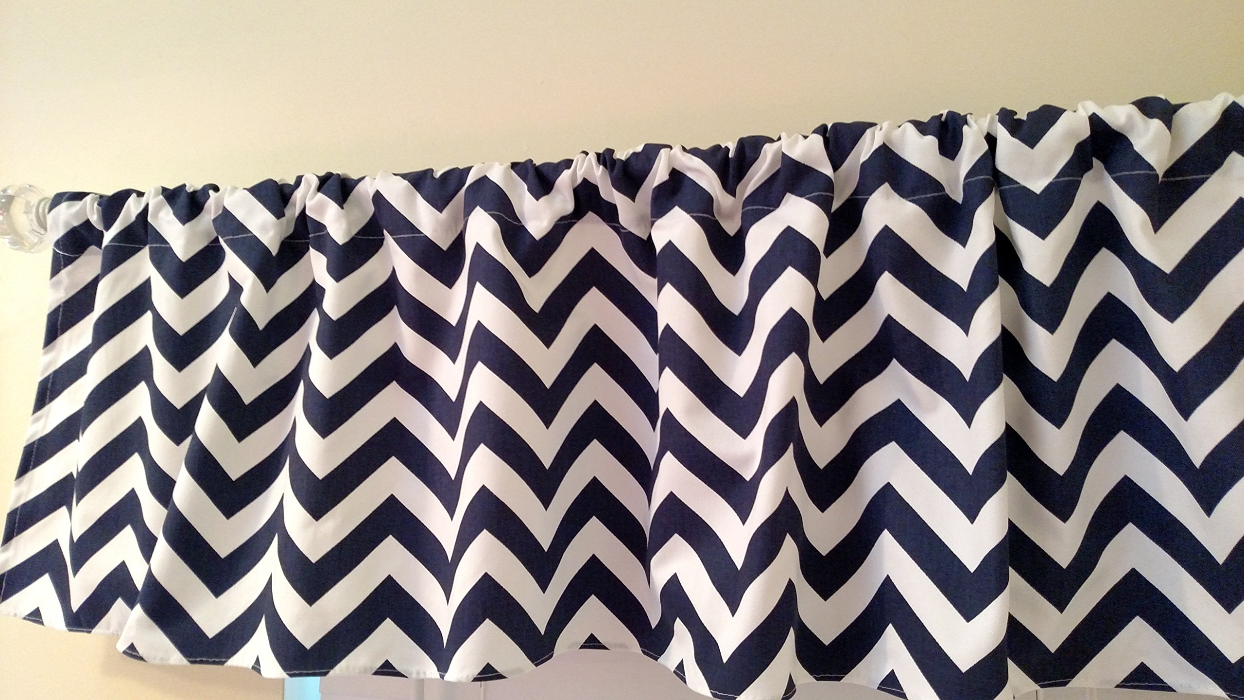Navy Blue Chevron Valance Curtain, Baby Nursery window treatment. Blue and white stripes. 54 '' wide by Home Touch Decor