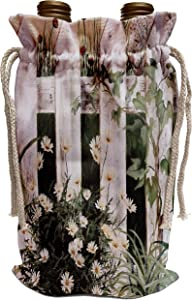 3dRose Amy Hurley Heath Flowers - Gardens - Weathered White Picket Garden Fence with Daisies and Vines - Wine Bag (wbg_44360_1)