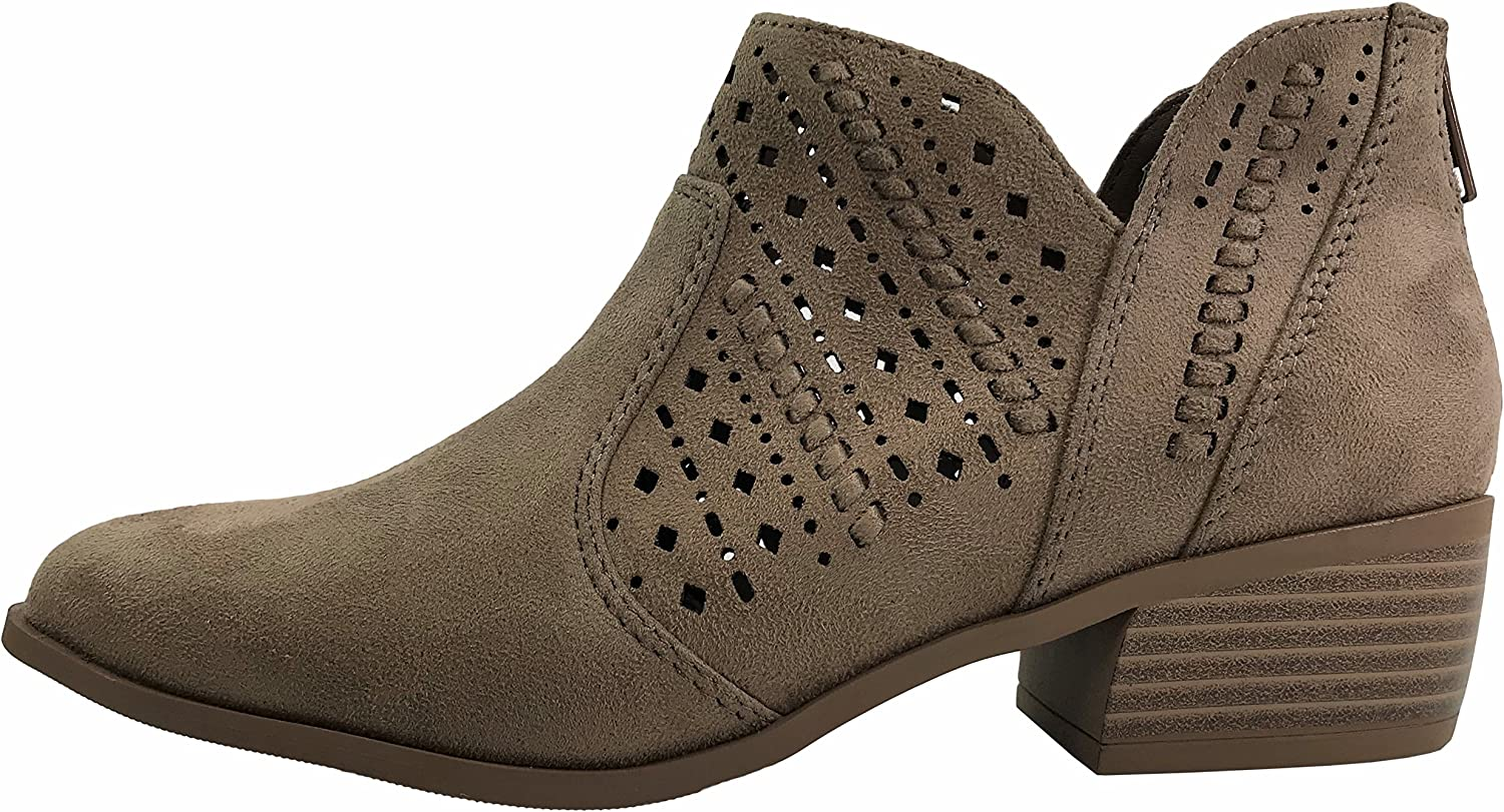 Cityclassified Womens Ankle Bootie Perforated Side V Cut Low Chunky Stacked Heel