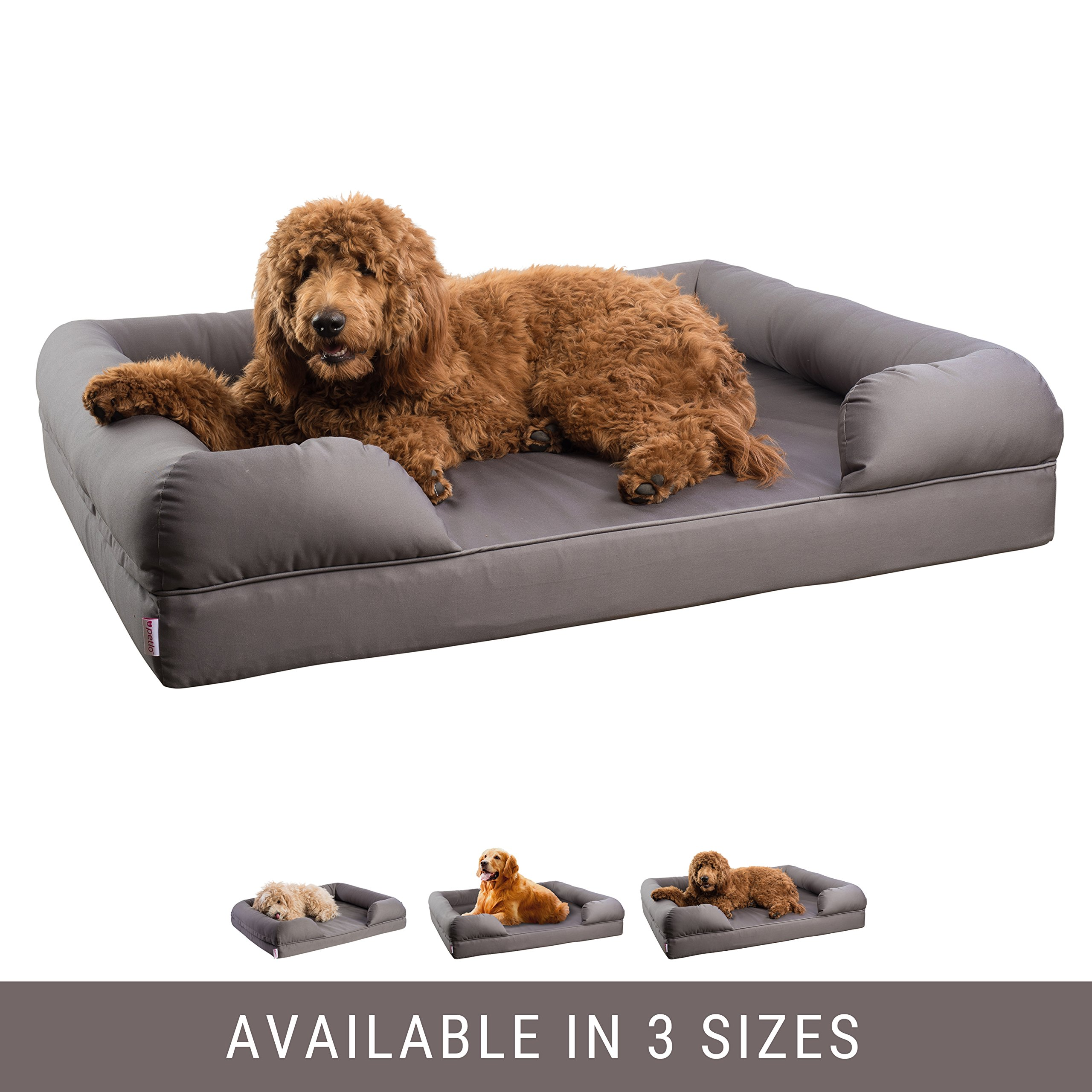 Orthopedic Pet Sofa Bed - Dog, Cat or Puppy Memory Foam Mattress - Grey Comfortable Couch For Pets With Removable Washable Cover - Extra Large - By Petlo