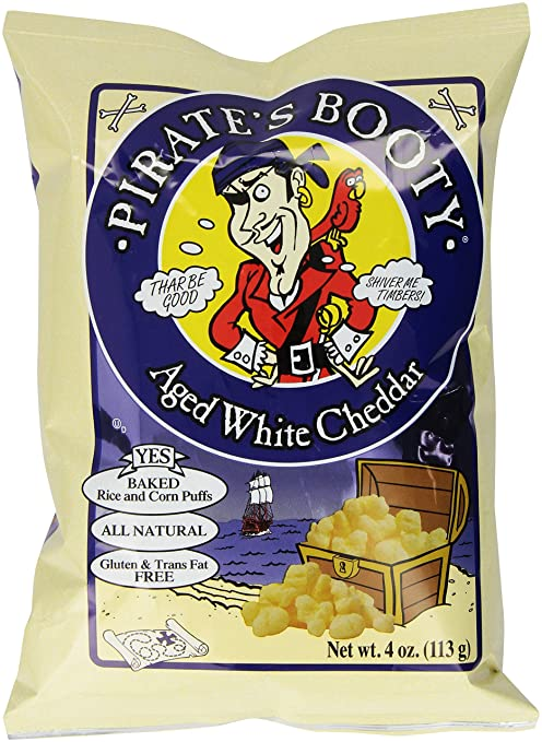Pirate's Booty Snack Puffs, Aged White Cheddar, 4 Ounce