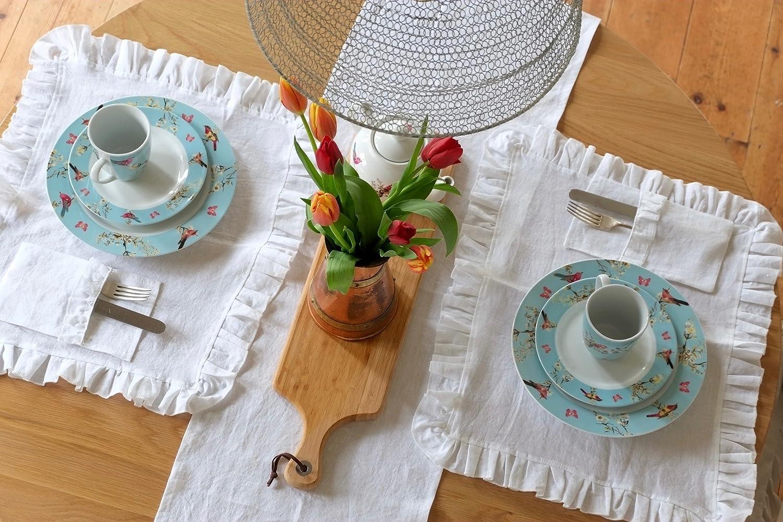Handmade Shabby Chic White Linen Placemats