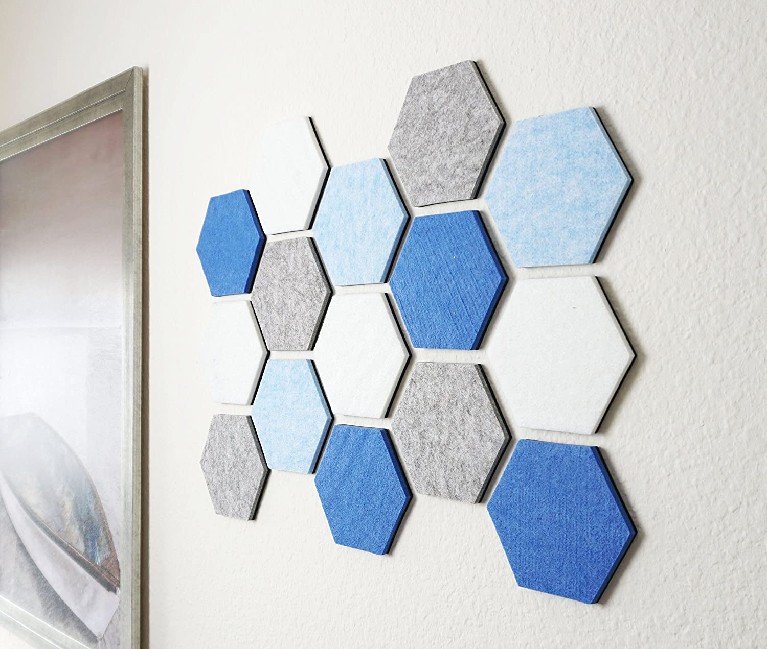 Amazon.com : Hexagon Pad Cork Board/Pin Board, Cool Blue - 24\