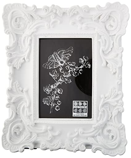 Amazon.com - Sixtrees Baroque Frame, 4 by 6-Inch, White - Single Frames