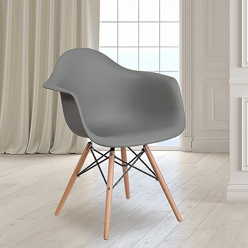 Flash Furniture 2 Pack Alonza Series Moss Gray Plastic Chair