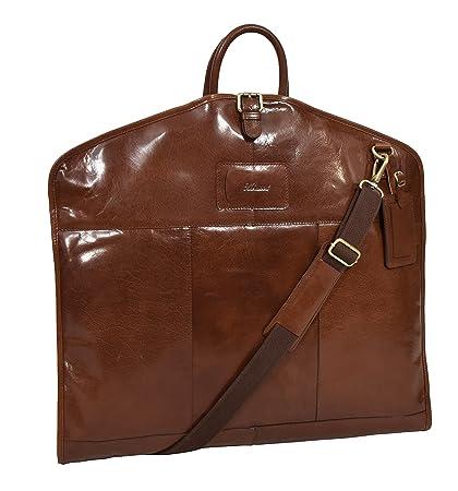Amazon.com: Funda de piel para traje de castaño, maleta de ...