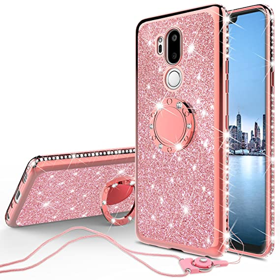 6da968010a LG G7 ThinQ Case,LG G7 Case,Glitter Cute Phone Case Girls with Kickstand