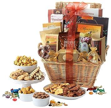 Broadway Basketeers Gift Basket Deluxe with Chocolates, Lindt Truffles, Assorted Nuts, Gourmet Cookies