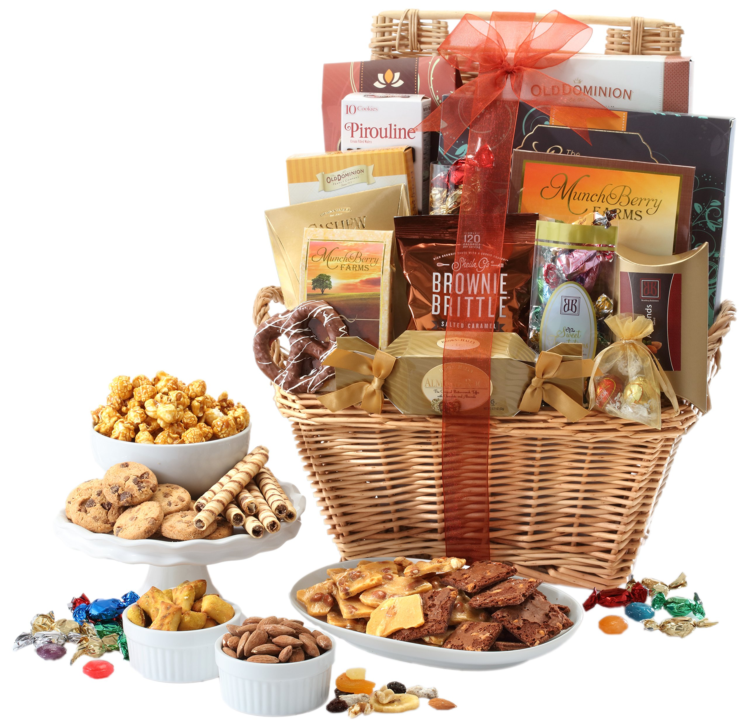Broadway Basketeers Gift Basket Deluxe with Chocolates, Lindt Truffles, Assorted Nuts, Gourmet Cookies, Seasoned Nuts, Sweets and More.