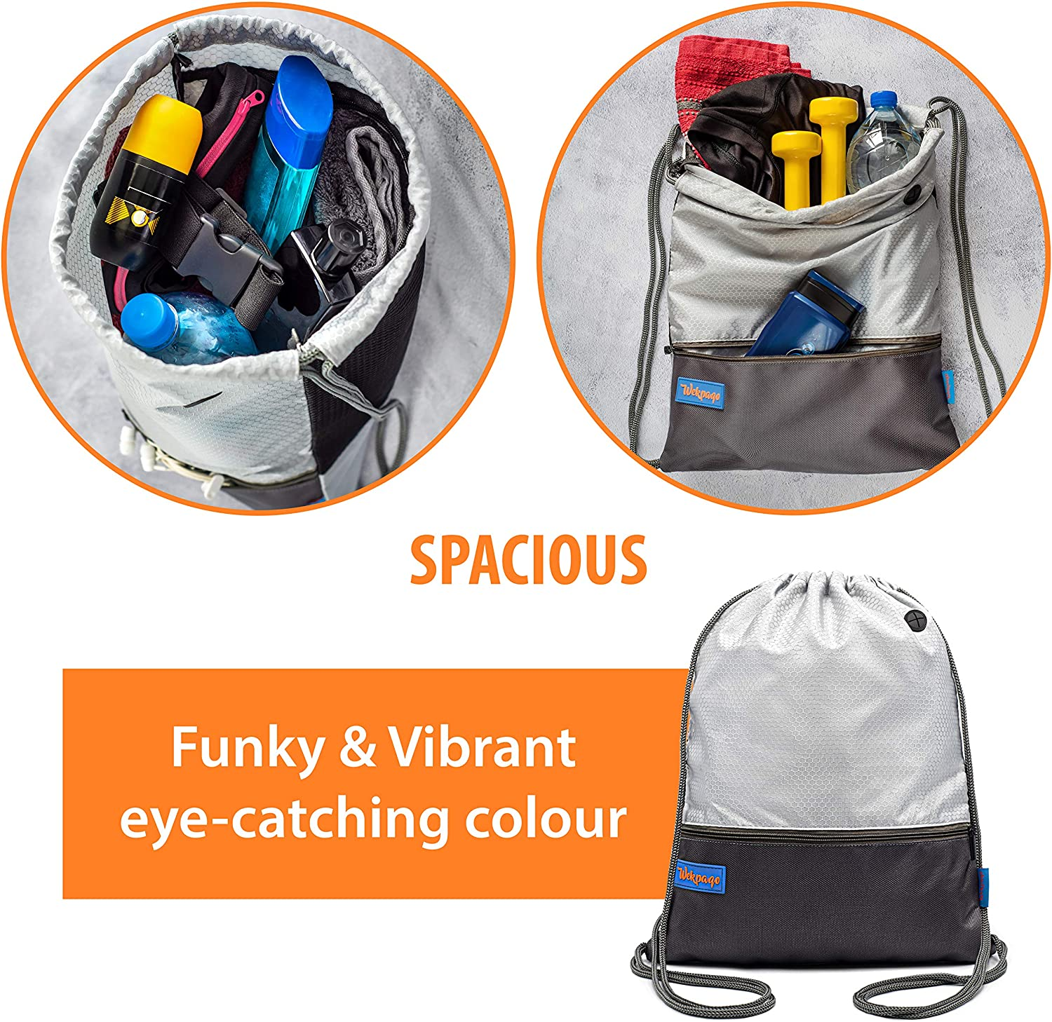 Cool Gym Sports Bags for Swimming Footbal Training Outdoor Silver Girls Boys Swimming Bag with Two Practical Zip Pockets and Earphone Output Wekpaqo Drawstring Pe Bag for Men and Women