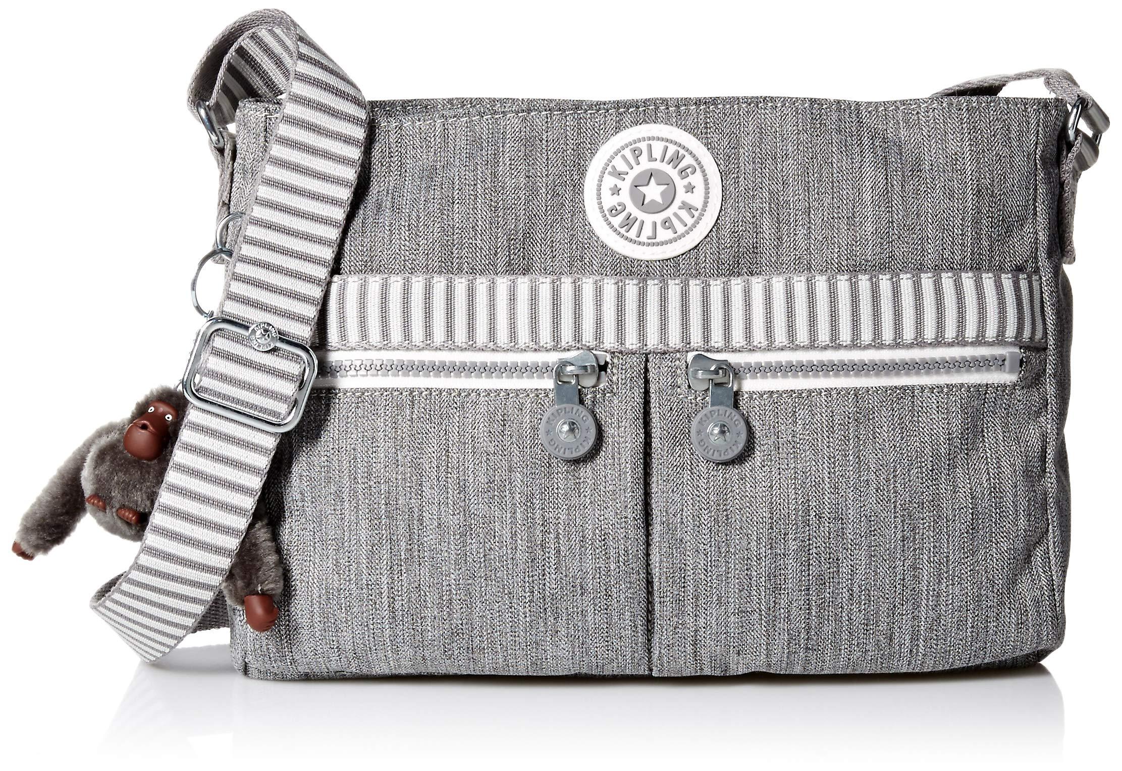 Kipling Women's Angie Crossbody Bag, Adjustable Shoulder Strap, Zip Closure, grey weave