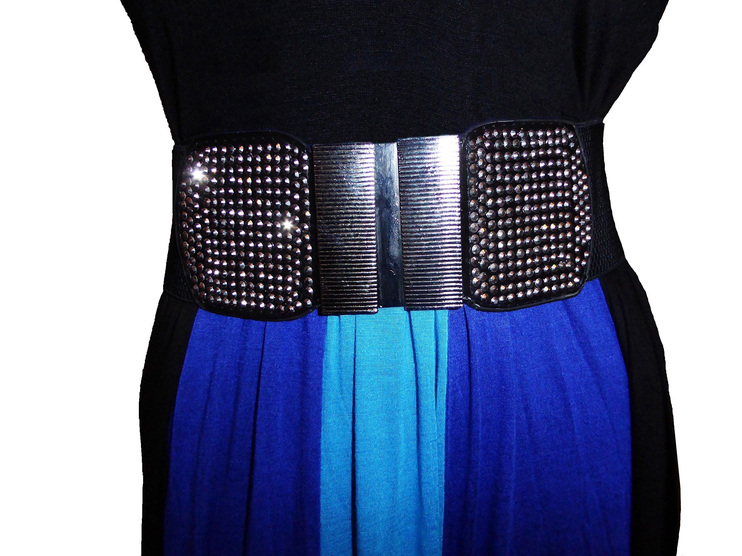 Funfash Belt Black Shimmering Stones Buckle Stretchy Elastic Belt Plus Size 3X