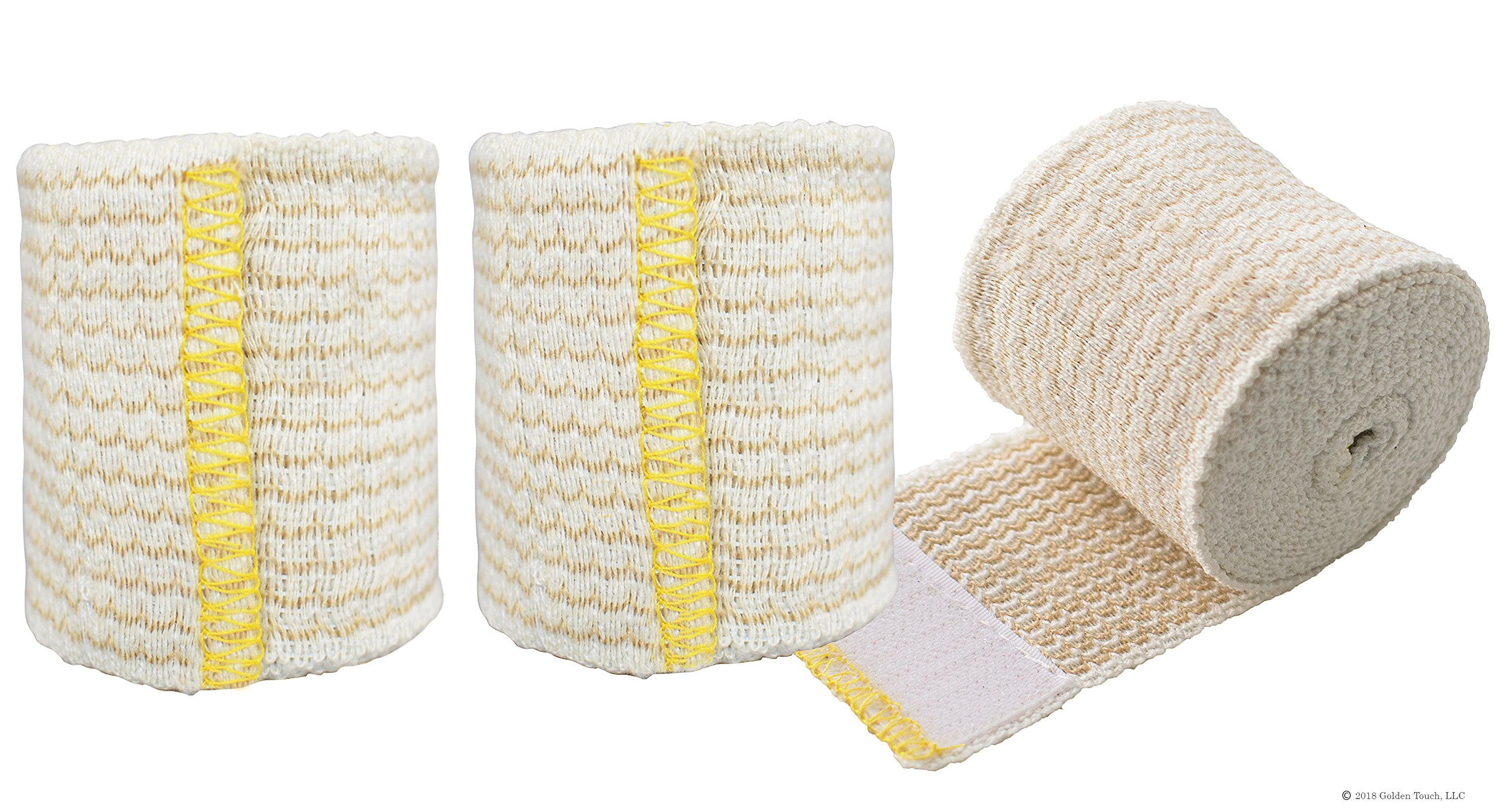 NexSkin Forever American Cotton Elastic Bandage Wrap with Hook and Loop Closure, 2'' Width (3 Pack)