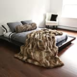 "Best Home Fashion Faux Fur Throw - Full Blanket - Amber Fox - 58""W x 84""L - (1 Throw)"