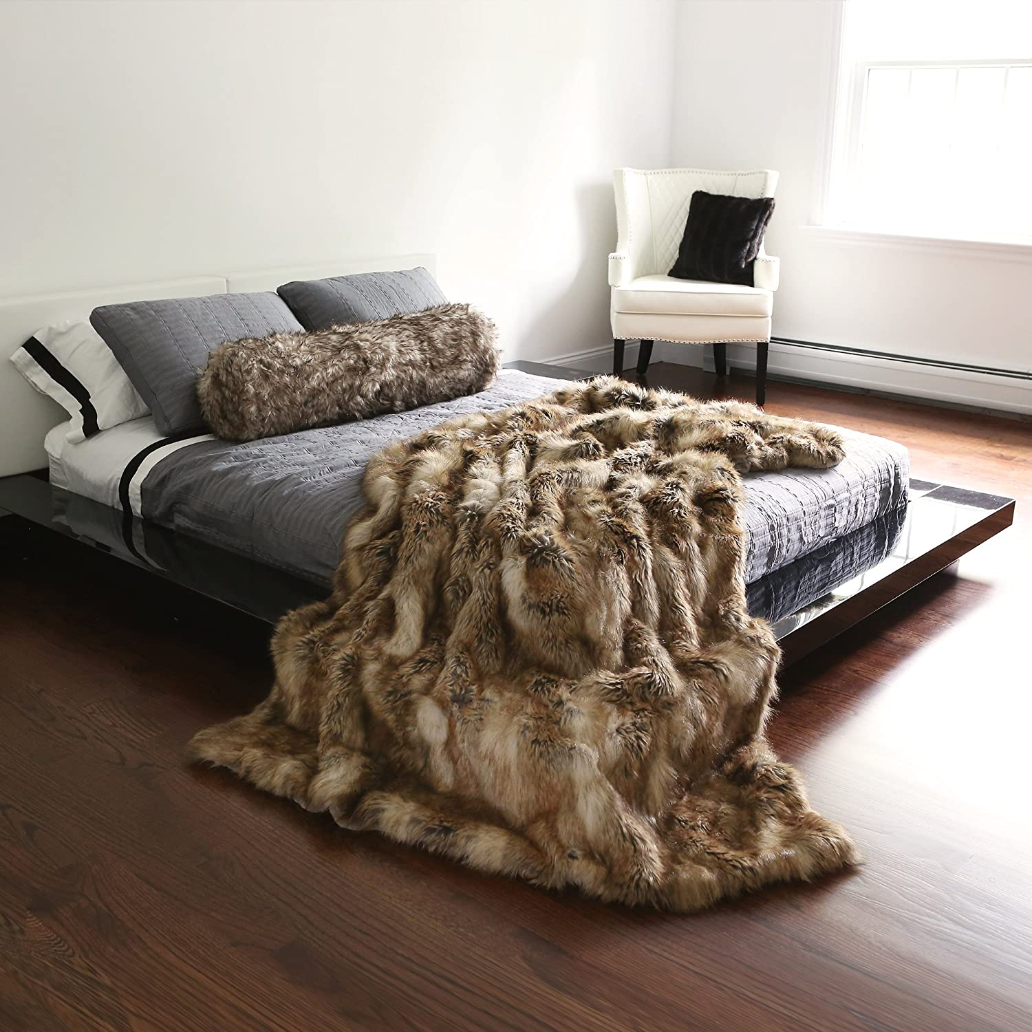 Best Home Fashion Faux Fur Throw - Full Blanket - Amber Fox