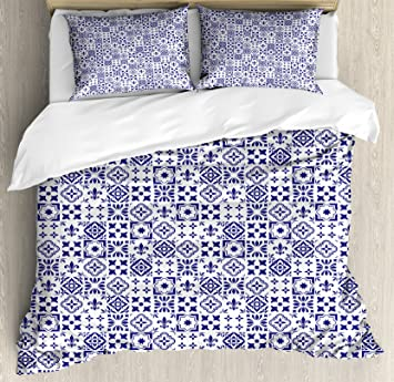 Amazon Com Ambesonne Indigo And White Duvet Cover Set Queen Size