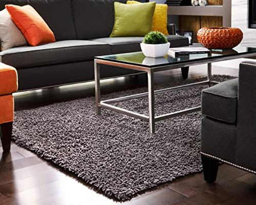Anji Mountain Graphite Silky Shag Rug in Natural 10 ft. L x 8 ft. W 78 lbs.