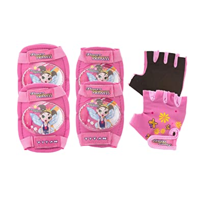 TITAN Flower Princess Multi-Sport Protective Pink Pad Set, Elbow Knee and Wrist Guards : Sports & Outdoors
