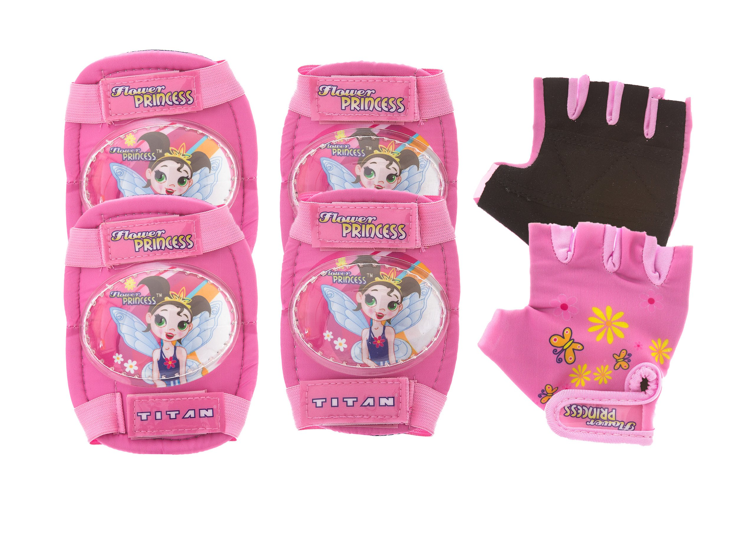 Titan Flower Princess Multi-Sport Protective Pink Pad Set, Elbow Knee and Wrist Guards