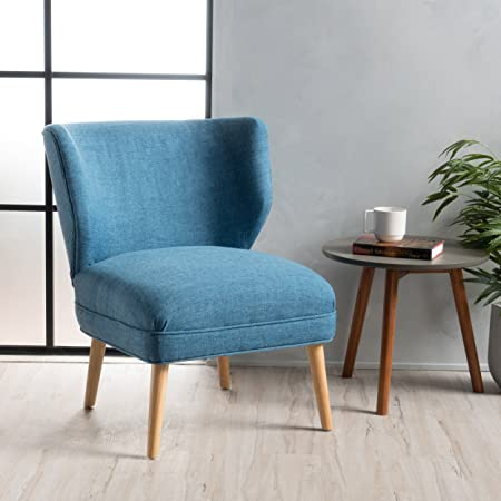 Dumont Mid Century Modern Fabric Accent Chair Blue