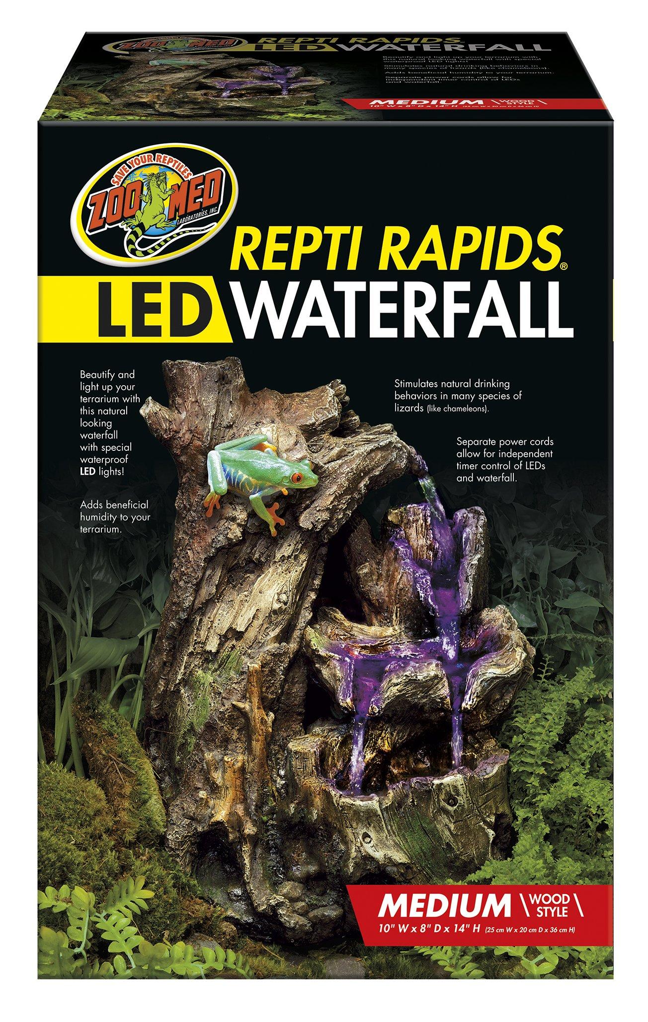 Zoo Med 26375 Repti Rapids LED Waterfall Wood Style, Medium