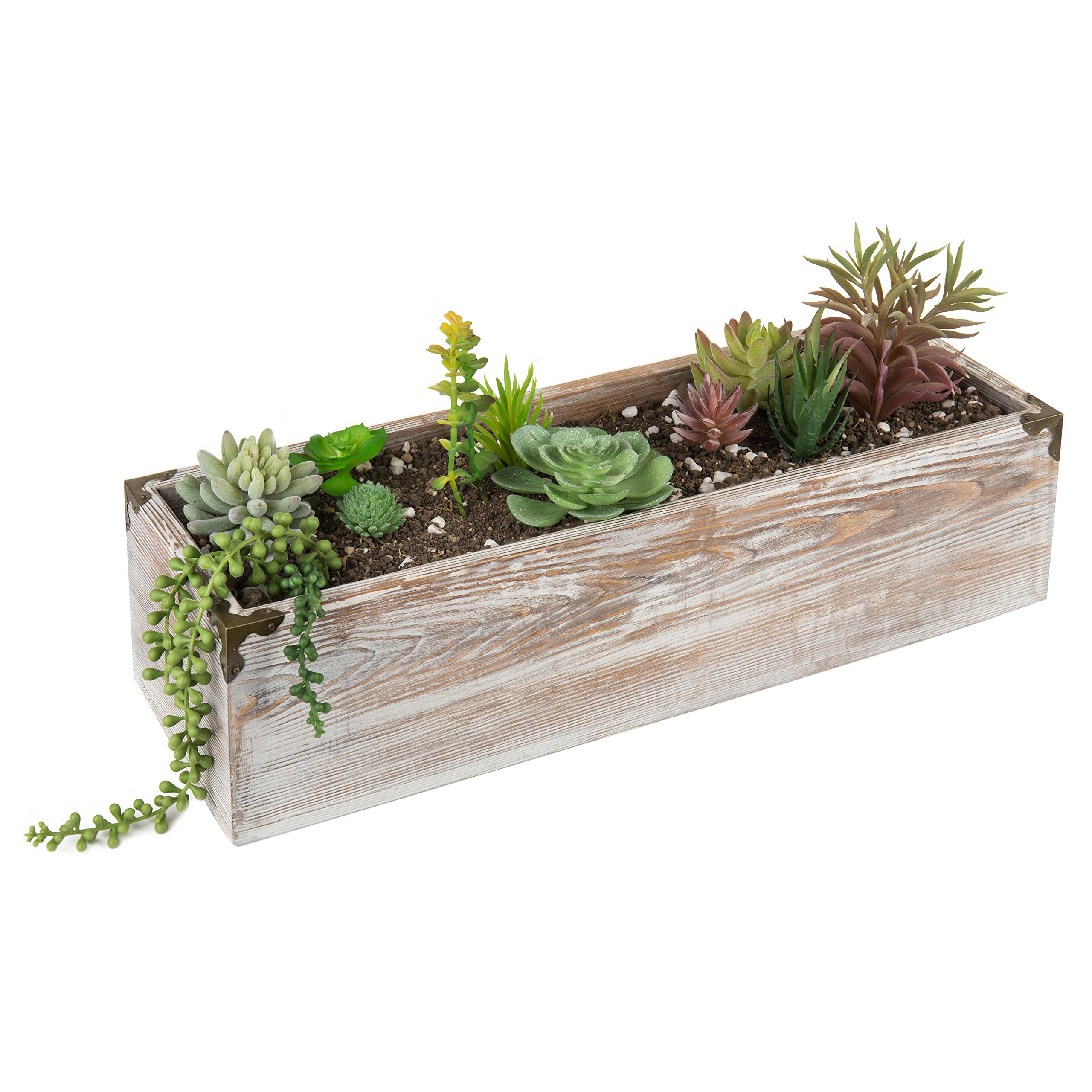 MyGift 21-Inch Rustic Whitewashed Wood Planter Box