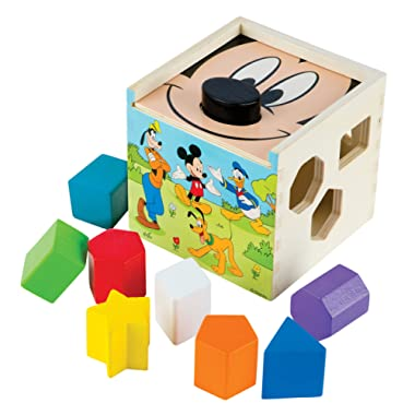 Melissa & Doug Mickey Mouse & Friends Wooden Shape Sorting Cube Baby Toy