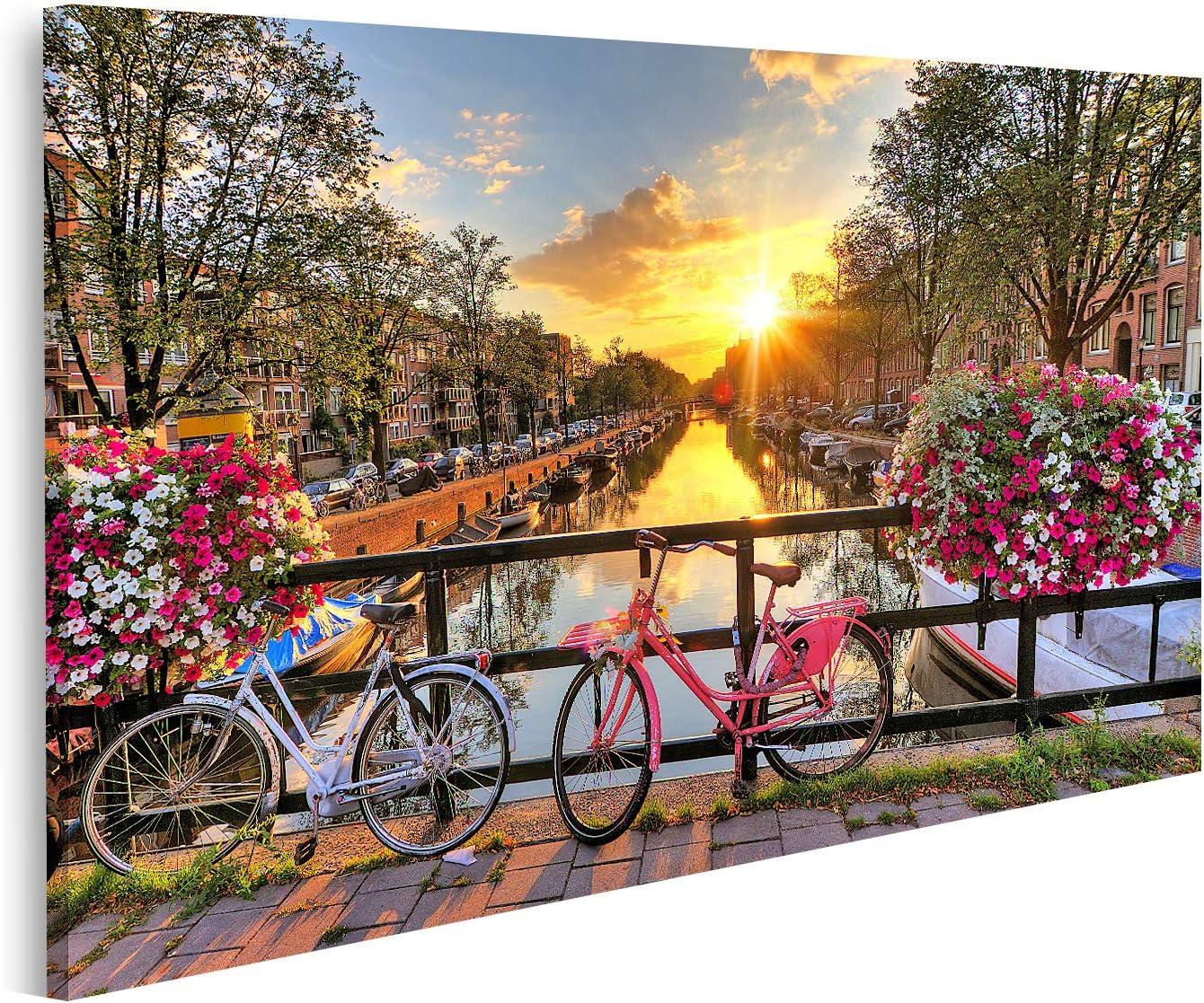 islandburner Cuadro en Lienzo Hermoso Amanecer sobre Amsterdam Los Países Bajos con Flores y Bicicletas en el Puente en Primavera Cuadros Modernos Decoracion Impresión Salon