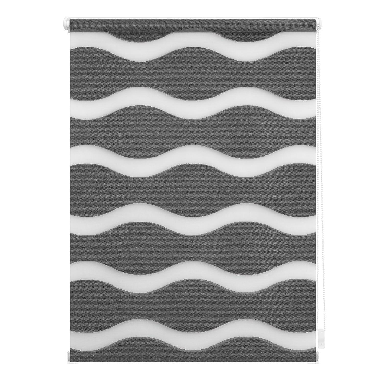 Lichtblick Duo-Rollo Welle Klemmfix, 110 cm x 150 cm (B x L) in Anthrazit, ohne Bohren, Doppelrollo mit Jalousie-Funktion, dekorativer Sonnen- & Sichtschutz, für Fenster & Türen