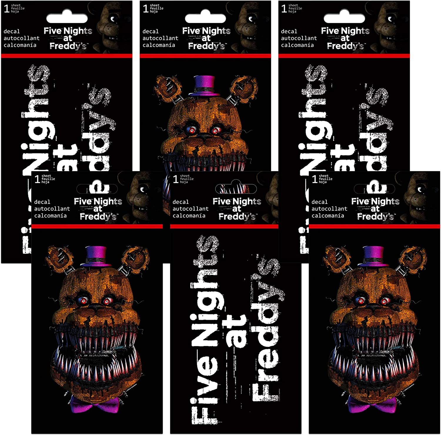 Five Nights at Freddy's Stickers Room Decor Bundle - 6 Pack Five Nights at Freddy's Wall Decorations (Five Nights at Freddy's Party Supplies)