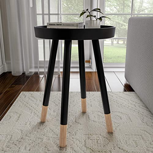 Lavish Home Decor Display and Home Accent Table with Tray Top and Two-Tone Color Black ,