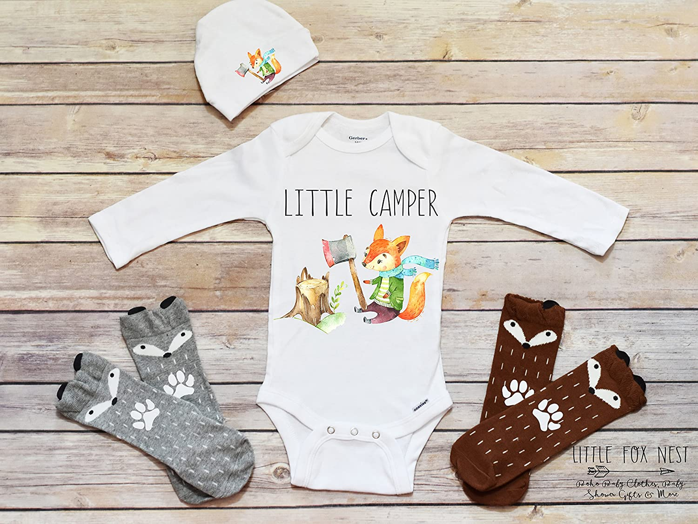 1fe238661 Amazon.com: Boho Baby Clothes, Baby Boy Clothes, Fox Onesie, Fox Shirt, Fox  Gift, Little Camper Onesie: Handmade