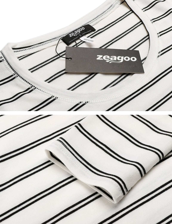 Camiseta de Manga Larga para Mujer Zeagoo Cuello Redondo asim/étrica t/única Camiseta Larga a Rayas
