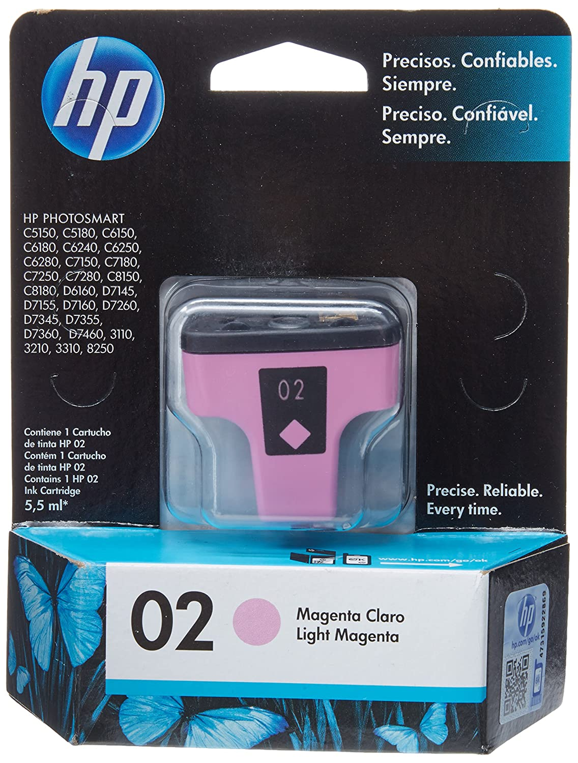 HP 02 Light Magenta Ink Cartridge, 10-80%, -40-158 °C, 5-40 °C, 10 ...