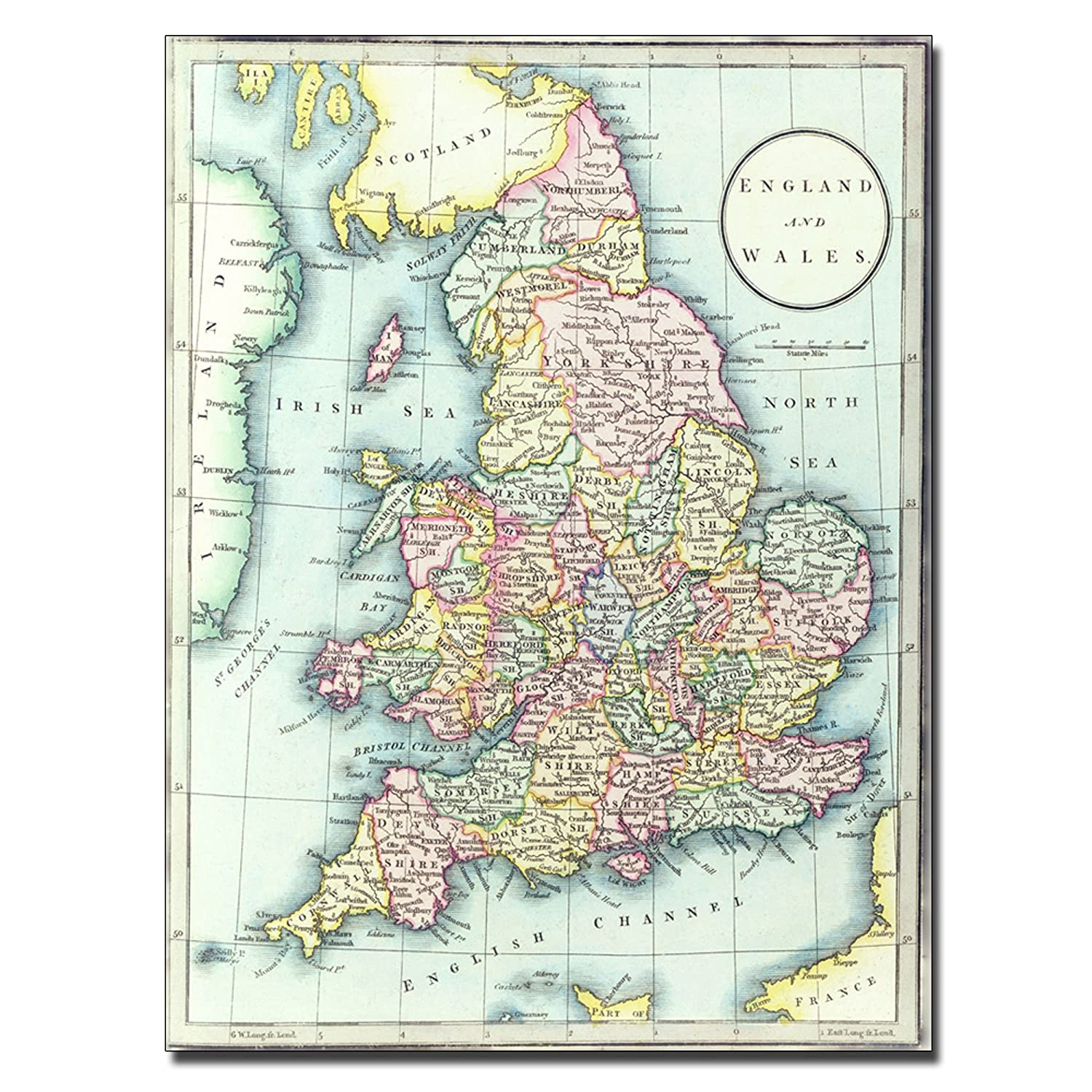 Map Of England In 1500.Amazon Com Map Of England And Wales 1852 By R H Laurie Work 35 By
