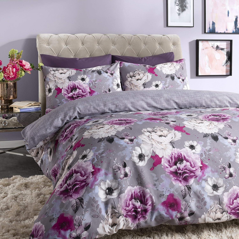 Sleepdown Copripiumino reversibile con motivo floreale, colore: blu, Cotone Poliestere, Grigio, Doppio