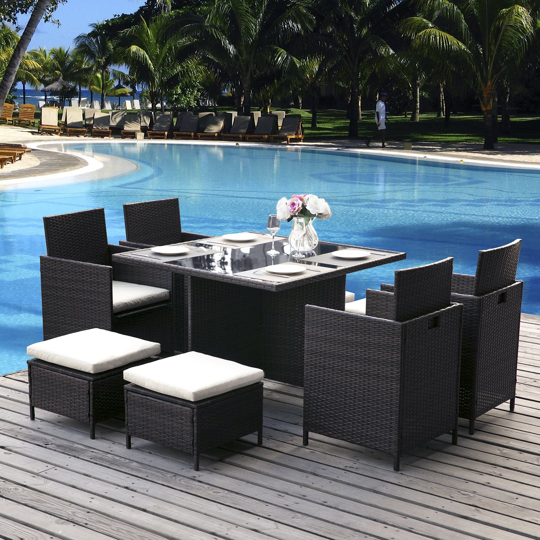 Leisure Zone Rattan Cube Garden Furniture Sets 8 seater Dining Set ...