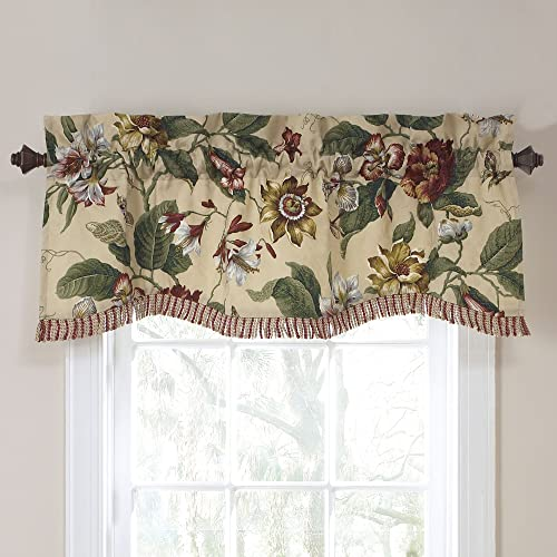 WAVERLY Valances for Windows – Laurel Springs 50 x 15 Short Curtain Valance Small Window Curtains Bathroom, Living Room and Kitchens, Parchment
