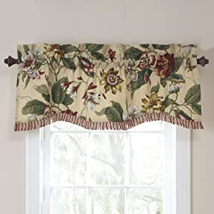 Waverly Laurel Springs Lined Window Valance, Parchment, 50-Inch Wide x 15-Inch Long (127 cm x 38 cm)